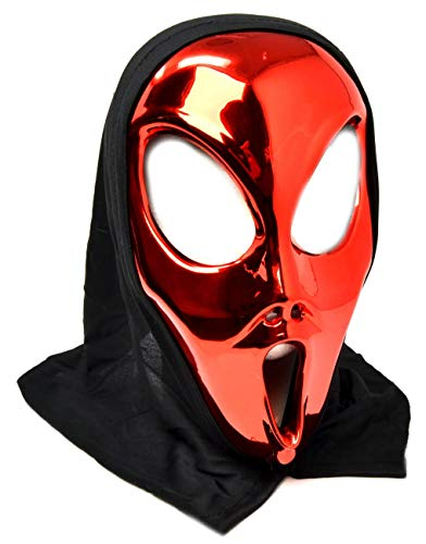 VENTURA TRADING Rojo Extraterrestre Mascarilla con Capucha Novedad Disfraz Partido Mascarilla máscara alienígena OVNI Extraterrestre