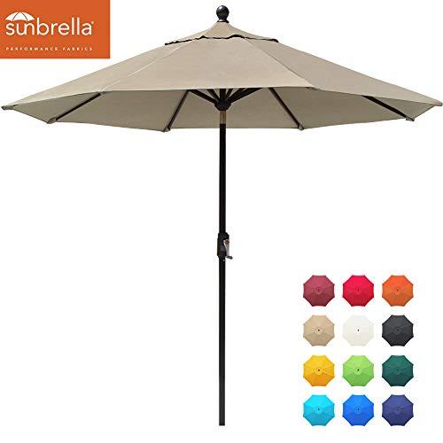 EliteShade Sunbrella 9Ft Market Umbrella Patio Outdoor Table Umbrella with Ventilation and 5 Years Non-Fading Top,Antique Beige