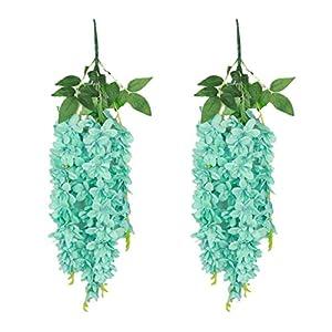 SN Decor Wisteria Artificial Flower 24inch Long Bushy Silk Hanging Flower Fake Wisteria Vine Ratta Set of 2 (Turquoise)