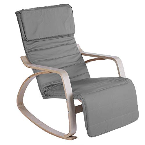 GOTOTOP Rocking Relax Chair,Comfortable Relax Rocking Lounge Recliner Armchair Adjustable Relaxing Chair Modern Home Office Furniture(Dark Gray)
