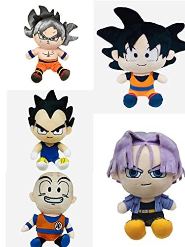 5 unids / Set 20Cm Dragon Ball Son Goku Kuririn Bejita Yonsei Torankusu Migatte No Gokui muñeco de Peluche Almohada Juguete Regalo