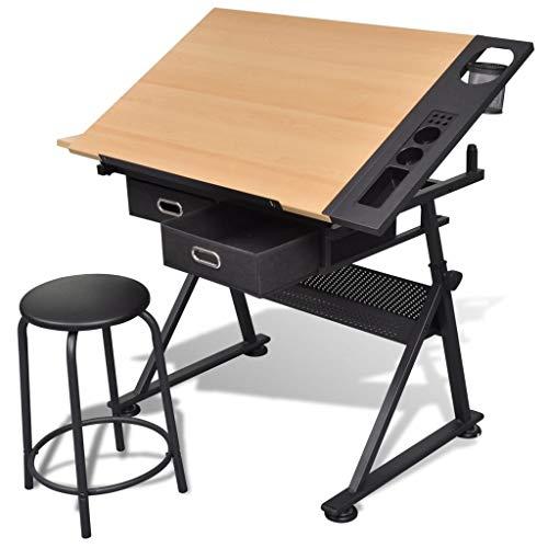 FAMIROSA Zeichentisch mit neigbarer Tischplatte 2 Schubladen und Hocker