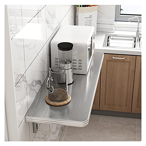 GHHZZQ Mesa De Cocina Plegable Heavy Duty Colgar En La Pared Mesa Plegable Estante De Almacenamiento Mesa Abatible por Cuarto Sala De Estudio (Color : Silver, Size : 80x40cm)
