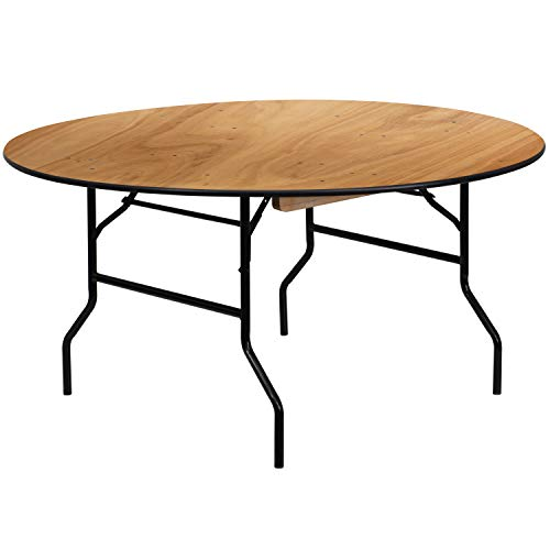 "Flash Furniture 60RND Wood Fold Table, 60"" Round, Black"