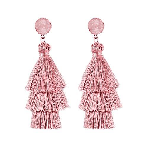 Ruby569y Pendientes colgantes para mujer y niña, 1 par de pendientes de moda con borla de tres capas para mujer