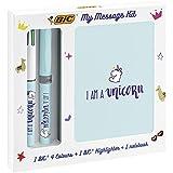 BIC 997978 My Message Kit Unicorn Set di Cancelleria con 1 Penna a Sfera BIC 4 Colours, 1 Penna Evidenziatore BIC Highlighter Grip Pastel Blu, 1 Taccuino Bianco A6, Confezione da 3 Pezzi