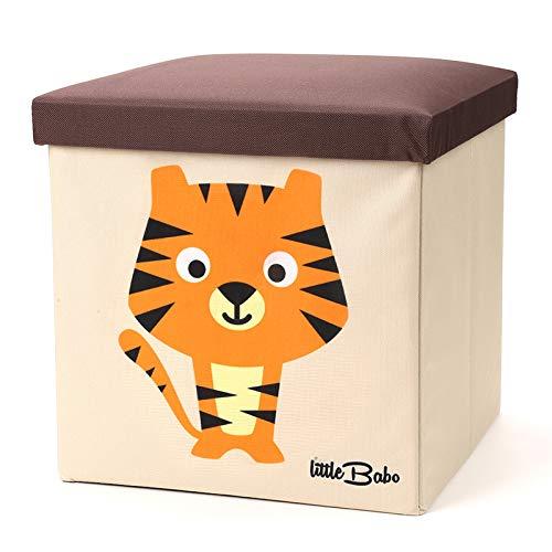 little Babo Faltbare Aufbewahrungsbox Kinder - groß & stabil zum sitzen - Spielzeug-Kiste mit Deckel - Aufbewahrung im Kinderzimmer - Regal-Korb - Storage Box - Aufbewahrungskorb Kinderzimmer (Tiger)