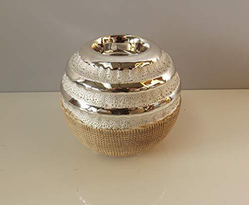 GILDE Teelichthalter Newtown Creme matt, Silber glänzend ca.10,5 x 10,5 x 9,0 cm
