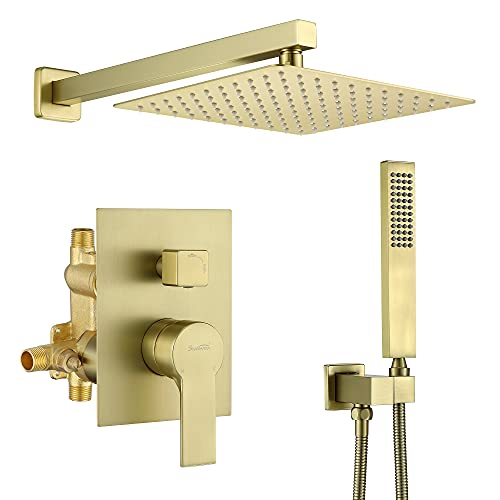 SHAMANDA Pressure Balancing Shower System Bathroom 10-Inch Rain Shower Head with Handheld Mixer Shower Combo Set, Brushed Gold Shower Faucet with Rough-In Valve Body and Trim, Wall Mount, L701-3