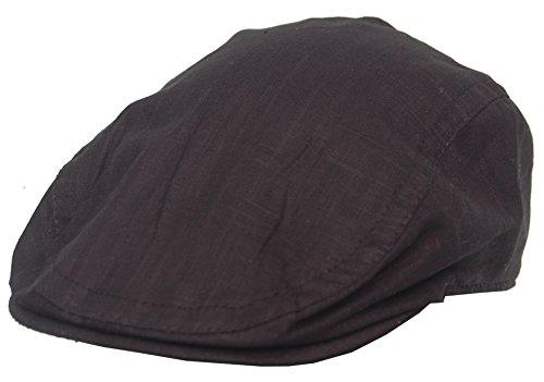Cool4 Leinen Flatcap Schiebermütze Vintage Gatsby Kappe Retro Mütze Cap A03 (56, schwarz)