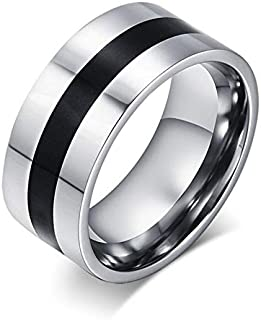 A stylish titanium men's ring decorated with a black line