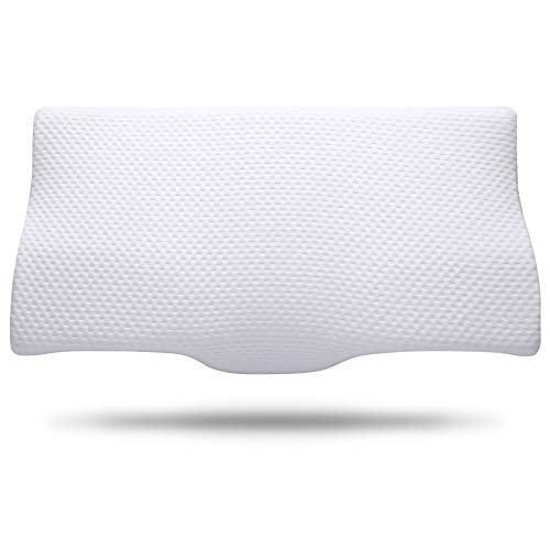 Neck Pillows for Sleeping, Memory Foam Pillow, Cervical Pillow for Neck Pain Relief, Orthopedic Contour Sleep Pillows, Bamboo Ergonomic Bed Pillow, Support for Back and Stomach for Side Sleepers