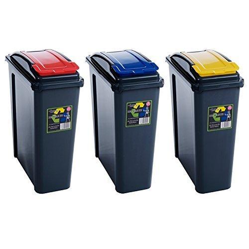 Wham 25 L Slimline Home Plastic Recycling Bin 3-Piece SetRed / Blue / Yellow