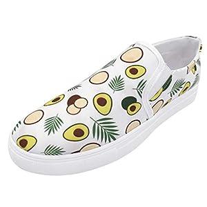 YWLINK Zapatos Casuales De Las Mujeres TamañO Grande Transpirables Zapatillas De Secado RáPido CóModo Mocasines Estampado De Moda De Aguacate Fiesta Ciclismo Yoga De La Aptitud(Blanco,43EU)