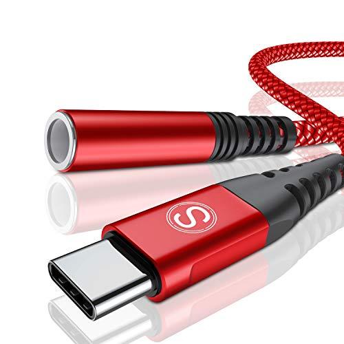 USB C auf 3,5 mm Kopfhörer Adapter, USB Typ C auf Jack AUX Audio Adapter für Huawei P30 Pro/P20/P20 Pro/Mate 10/20 Pro, Samsung S20 Note 10/10+/A8/A80, One Plus 7/6T, Pixel 3/2/2XL XIAOMI8 (Rot)