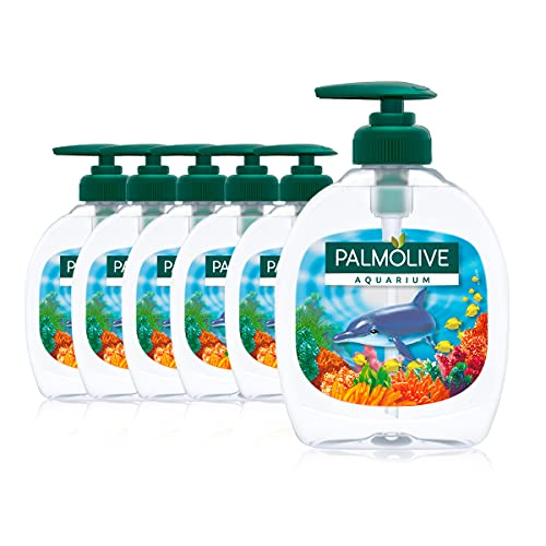 Palmolive Seife Aquarium 6 x 300 ml, mit verschiedenen Motiven der Unterwasserwelt, für alle Hauttypen, flüssige Handseife
