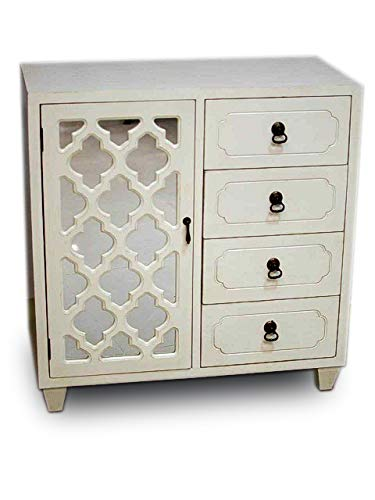 Heather Ann Creations Aria Collection Contemporary 4 Drawer Wooden Accent Chest and Cabinet with Morocco Pattern Grille and Mirrored Backing Antique White