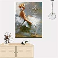 キャンバスに抽象的な美しい少女の姿の油絵を印刷する壁アートリビングルームの風景写真ソファ40x50cm-フレームなし