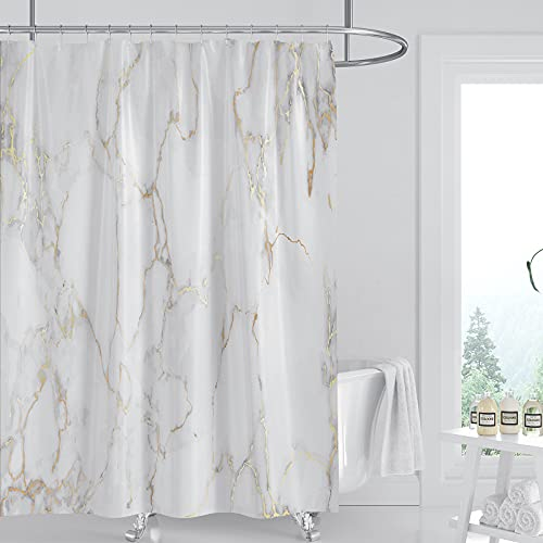 DOMOKU Marble Shower Curtain Grey Gold Texture Marble Shower Curains for Bathroom Bathtub Waterproof Fabric with 12Hooks,72X72Inch