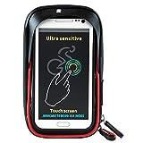 MSQL Fahrrad-Handyhalter, wasserdichte Touchscreen-Fahrrad-Fahrradtaschen, Stoßdämpfung, drehbare Basis, Sonnenblende, für 6