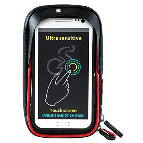 """MSQL Fahrrad-Handyhalter, wasserdichte Touchscreen-Fahrrad-Fahrradtaschen, Stoßdämpfung, drehbare Basis, Sonnenblende, für 6\""""Handy,BlackRed"""