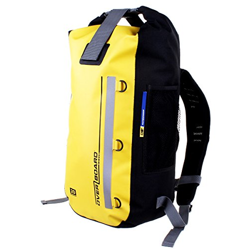 OverBoard Classic Waterproof Backpack | 20 Litre Floating Pack | 100% Waterproof Dry Bag with Top Fold Seal System (Yellow)