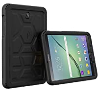 Poetic Galaxy Tab S2 8.0 Case - Poetic [Turtle Skin Series]-[Corner/Bumper Protection][Tactile Side Grip][Sound-Amplification][Bottom Air Vents] Protective Silicone Case Black