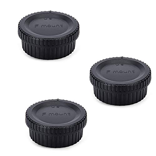 Rear Lens Cap & Body Cap Cover for Nikon F Mount Camera D3500 D3400 D3300 D3200 D3100 D3000 D7500 D7200 D7100 D5600 D5500 D5300 D5200 D5100 D5000 D780 D850 D810A D810 D750 D6 D5 D4s D4-3 Packs