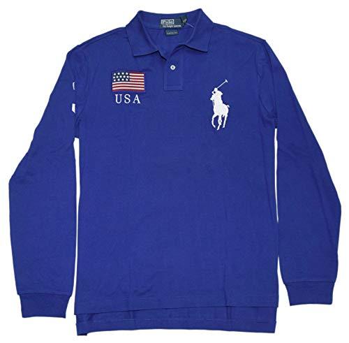 Ralph Lauren Polo Mens Custom Big Pony USA Pullover Mesh Shirt Blue Navy XL