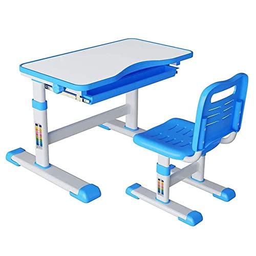 Juego de escritorio y silla para niños con cajón extraíble, mesa de escritura para niños ajustable en altura, material de escritorio resistente al desgaste y fácil de limpiar, libre para escribir