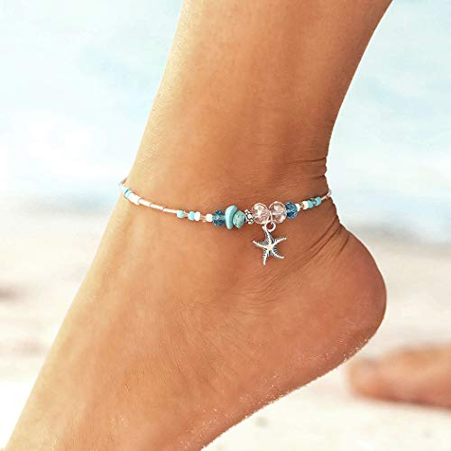 Yikisdy Boho Turquoise Anklet Starfish Silver Ankle Bracelet Bead Foot Chain Beach Foot Bracelet for Women and Girls