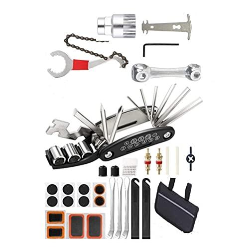 Combinación de kit de reparación de bicicletas | Juego de herramientas de mantenimiento portátil, parches para neumáticos de herramientas múltiples para bicicletas 16 en 1