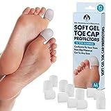 Dr. Frederick's Original Soft Gel Toe Protectors - 12 Pieces - Cushioning Toe Caps - Medium