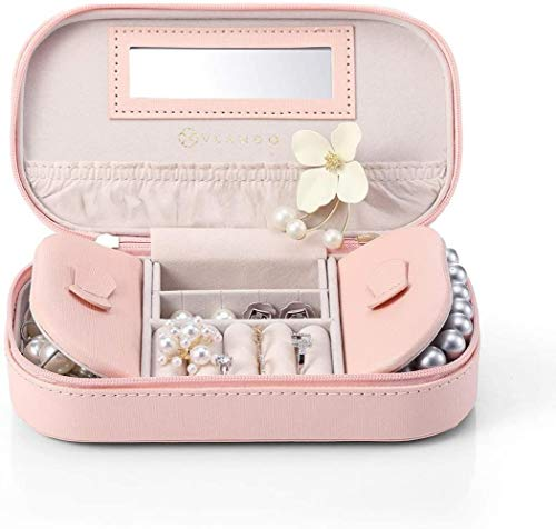 Travel Sieraden Organizer Box Bag, Portable Mirrored Jewellry Case Handtas met Tassel Zip for armbanden, oorbellen, ringen, kettingen, broches (zwart), Kleur Naam: 1.pink (Color : 1.pink)