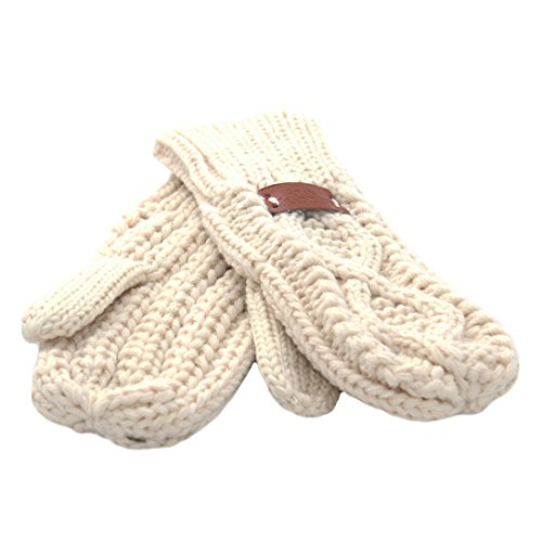 Knit Style Aran Cable White Mitten Gloves