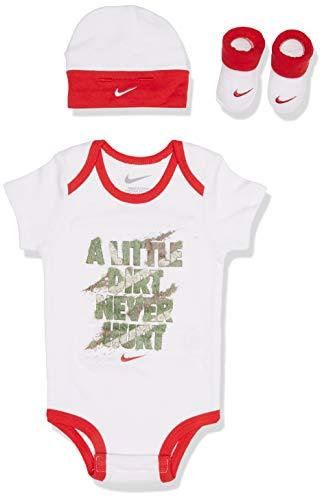 Nike Gift Pack, Set Baby 3Stück Body + Mütze + Schuhe (Größe 0/6Monate), Bianco