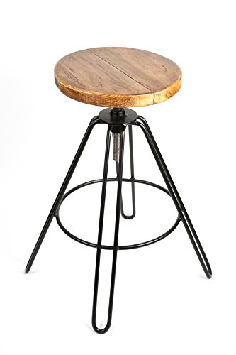 TableShack Tabouret réglable en épingle à cheveux (fabriqué à la main) véritable siège de bistro, cuisine et bar | rond en bois blanc européen | finition laquée noire | fait à la main au Royaume-Uni