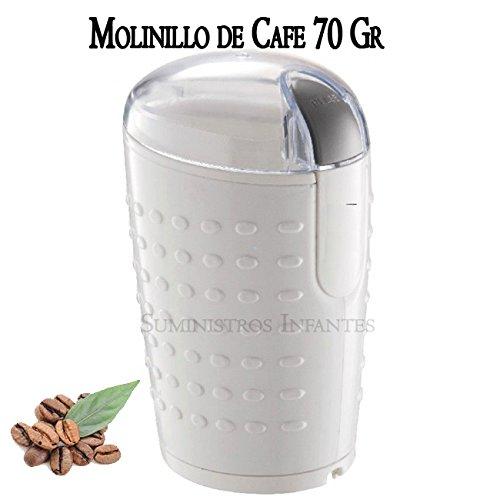 Elektrische Kaffeemühle Kapazität 70gr. Klingen aus Edelstahl. Mahlt Kaffeebohnen, Nüsse und Gewürze. Leistung 150W. Deckel transparent. Hochwertige Kaffeemühle weiß.