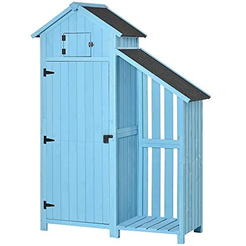 Outsunny Gartenhaus Gerätehaus Geräteschuppen mit Brennholzlagerraum Geräteschuppen mit 3 Ablagen Asphaltdach Tannenholz Himmelblau 130 x 54,5 x 180 cm