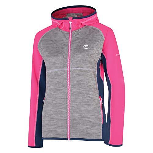 Dare 2b Damen-Fleece-Midlayer mit Kapuze, Stretch, leicht, schnelltrocknend, Reißverschluss 44 Pink (Cyber Pink/Esche)