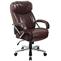 Contemporary Big & Tall Office Chair 500 lb. Weight Capacity Brown LeatherSoft Upholstery High Back Design with Headrest Built-In Lumbar Support