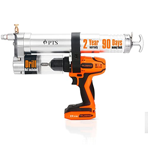 PTS Grease Gun Attachment for Cordless Drill Transform an Impact Driver or Drill into a Battery Operated, Electric Powered Grease Gun - with Adapter Accessories Kit, Hose and Pump Fitting