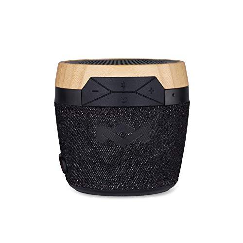 House of Marley Chant Mini, tragbare Bluetooth Lautsprecherbox, spritzwassergeschützt, 6 Std. Akkulaufzeit, integriertes Mikrofon, Karabinerhaken, kabellos verbinden mit iPhone, Samsung etc, black