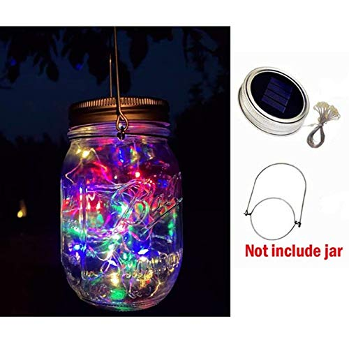 No-branded NDMCC 5pcs Solar Mason Jar String Fairy Light 2M 20 LEDs for Mason Jar Garland Solar Lights Lid with Hangers (Emitting Color : RGB, Wattage : Without Jar)