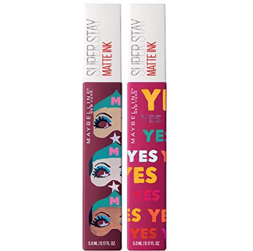 Maybelline New York Kit Labbra Edizione Limitata Ashley Longshore, 2 Rossetti Liquidi Matte Ink in Edizione Limitata a Lunga Tenuta, Finish Matte, 40 Believer + 120 Artist