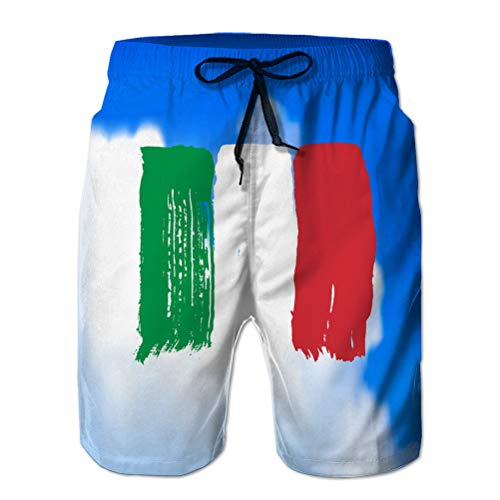 jiilwkie Herren Casual Shorts Badehose Beach Board Shorts Flagge Italiens gegen den Himmel M