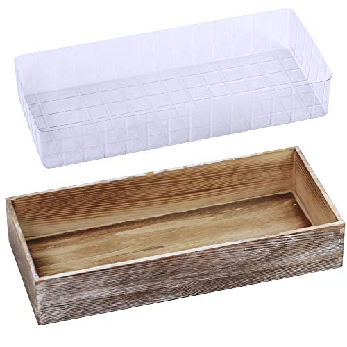 "1 Pcs Wood Planter Box Rectangle Whitewashed Wooden Rectangular Planter Decorative Rustic Wooden Box with Inner Plastic Box - 17.3"" L x 7.8"" W x 3"" H Floral Natural Centerpieces Rustic Wedding Decor"