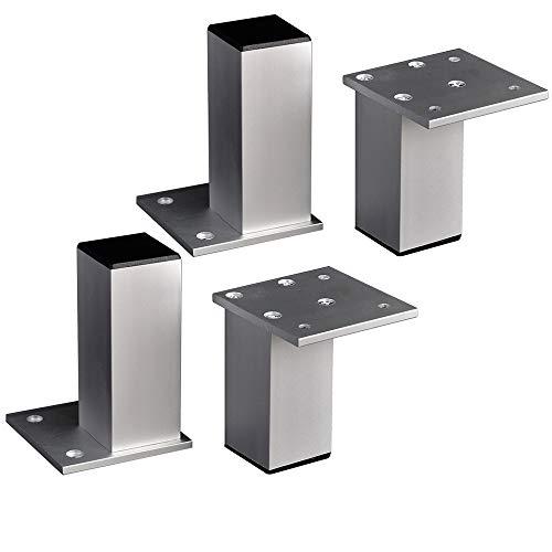 Furniture legs ZJUT 4 * Patas de Muebles, gabinetes de aleación de Aluminio Gruesos Cuadrados/sofá/Mueble de TV/pies de gabinete de Cama - Alto (3cm-10cm) Plateado
