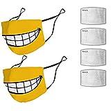 Maxpex 2 Stück Bandanas Schals mit Smiley, Bandana BandanaWiederverwendbare und Waschbare nti Verschmutzung Anti-Staub Mundbedeckung mit 4 Stück Filter