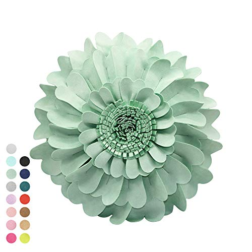 Flower Pillow – 3D Round Throw Pillows for Home Décor – Handmade Sweetheart Decorative Flower Pillow for Bed and Couch – Super-Soft Suedette Fabric (14' Flower, 13' Pillow With Insert, Mint)